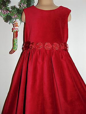 Laura Ashley vintage Christmas 97 cotton velvet party dress with roses, 5 Years