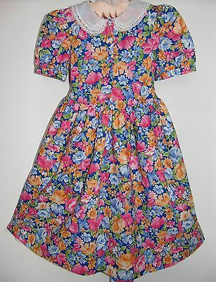 Laura Ashley vintage mother & child label vivid floral party dress, size 7 Year