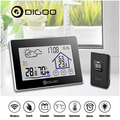 Digoo DG-TH8380 Touch Screen Outdoor Wireless Weather Station Thermometer Clock