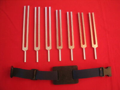 7 Pc Set Chakra Tuning Forks for Sound Healing Therapy+Pro Activator for Leg