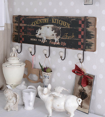 Wall Hook in the Cottage Style Hook Rail Country Kitchen Ceramics Handles