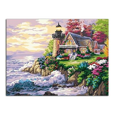 Seaside Villa DIY Oil Painting Paint By Numbers Drawing On Canvas Home Decor