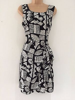 Vintage 80's Retro Black & White Abstract Print Wrap Skirt Summer Day Dress 10