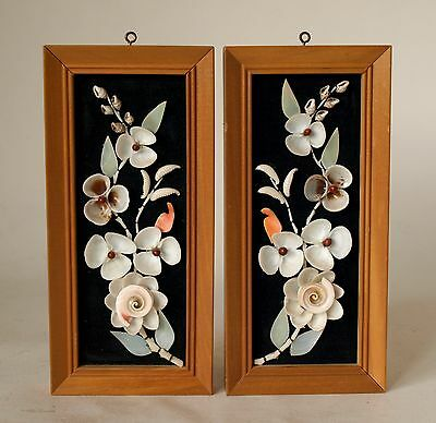 Vintage Retro 60s/70s FLORAL SHELL WALL HANGING/ART Framed 2x KITSCH seashell