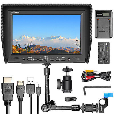 "Neewer NW-708M Monitor + USB Charger + Replacement F550 Battery + 11"" Magic Arm"