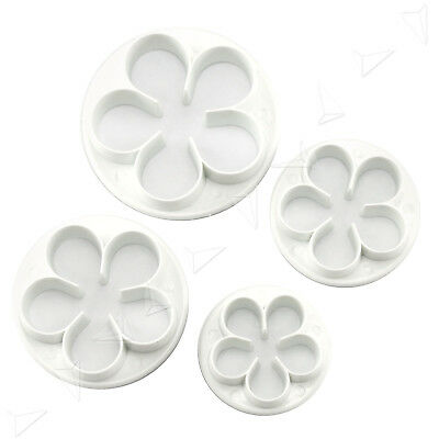 4X Rose Flower 5 Petal Sugarcraft Plunger Cutter Party Cake DIY Decor Easy Clean
