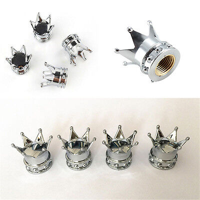 Universal Car Chrome Crown Style Tire Air Valve Stems Cover Caps Wheel Rims 1set