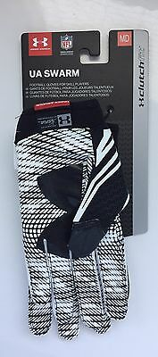 Under Armour Swarm Adult Football Gloves 001 BLACK/WHITE MD (1271170) - New