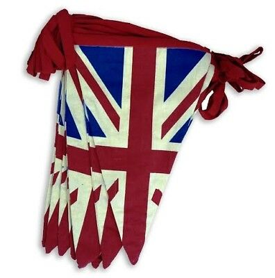 100% Cotton Double Sided Vintage Style Union Jack Festival Bunting - 5 Meters ap