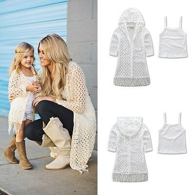 Family Match Clothes Women Kids Mother Daughter Denim Tassel Coat Outfits Set