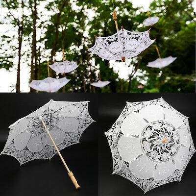 "Vintage 23"" Dia White Lace Embroidered Parasol Sun Umbrella Bridal Wedding Decor"