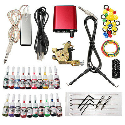 Completo Tatuar Tatuaje Con Maquina 20 Tintas Colors Tattoo Machine Máquina Kit