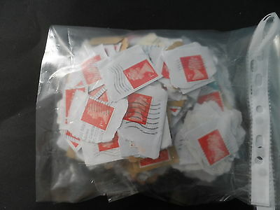lot 9 approx 400  USED on paper Red 1st class security stamps
