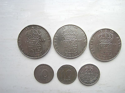 Scrap silver or collect Sweden High silver content coins Qty 6