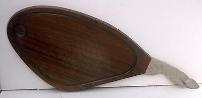 French Wood and Metal Lamb Meat Carving Serving Tray