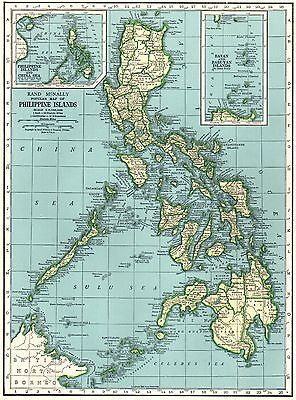 1942 Vintage PHILIPPINES Map of the Philippine Islands Gallery Wall Art #3859