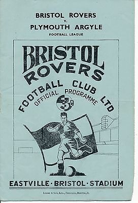 Bristol Rovers v Plymouth 1950/1 - Football Programme