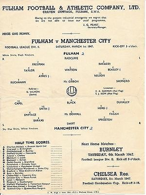 Fulham v Manchester City 1946/7 RARE single sheet issue