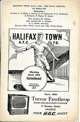 Halifax Town v Gateshead 1956/7 - Football Programme