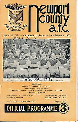Newport v Colchester United 1954/5 - Football Programme