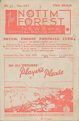 Nottingham Forest v Charlton (War League 25.12) 1945/6