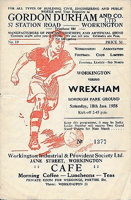 Workington v Wrexham 1957/8 - Football Programme
