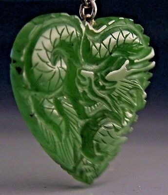 SUPERB CHINESE EXPORT SILVER JADE JADEITE DRAGON HEART PENDANT c1950