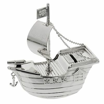 Bambino by Juliana Collection Child's Silver Plated Pirate Ship Money Bank