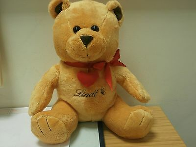 collectable Lindt golden bear soft toy heart collar bow zip back