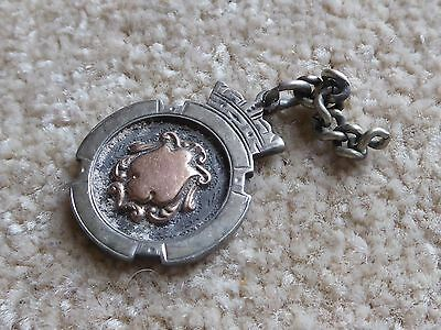 Vintage solid silver watch fob medal