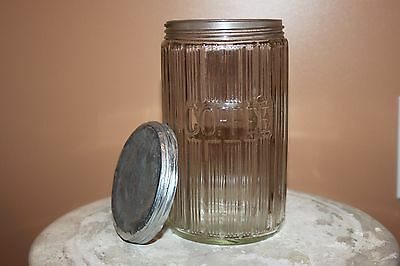 Vintage Glass Ribbed Coffee Jar with Lid
