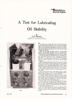 1952 Article: SAL Seaboard Air Line Railroad Test for Lubricating Oil Stability