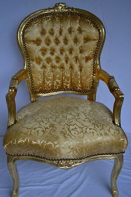 Baroque armchair Louis XV style - gold/gold