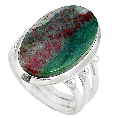925 Silver Natural Green Bloodstone African (Heliotrope) Ring Size 7 K34917