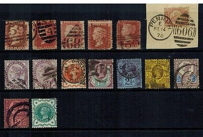 Gb Qv Selection Of Collectable Victoria Line Engraved & Surface Printed Stamps