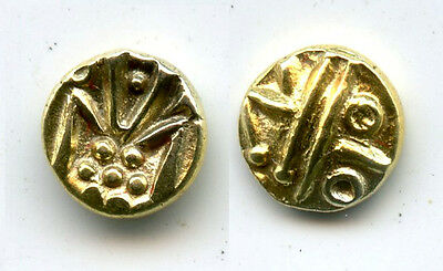 SUPERB gold fanam, Dutch VOC company in Tuticorin, 1658-1779, India (H#3.07.01)