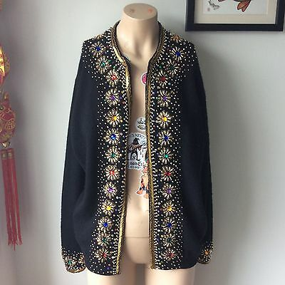 Vintage Sequin Jewel Cardigan Knitted Gold Metallic Size 8/10/12 Beads Rainbow
