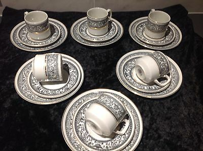 VINTAGE 1940's/1950's - WOOD AND SONS SARACEN 6 Coffee Cups SAUCERS SIDE PLATES