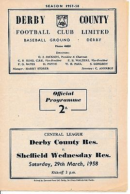 Derby Reserves v Sheffield Wednesday (Central League) 1957/8