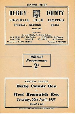Derby Reserves v West Brom (Central League) 1956/7