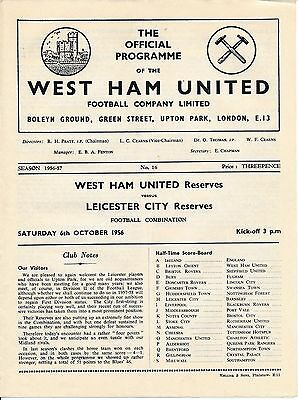 West Ham Reserves v Leicester City (Combination) 1956/7