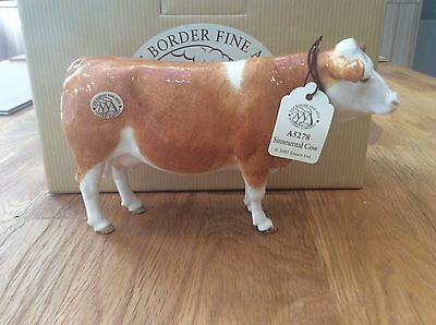 BORDER FINE ARTS POTTERY SIMMENTAL COW A5278 MINT AND BOXED. Free worldwide post