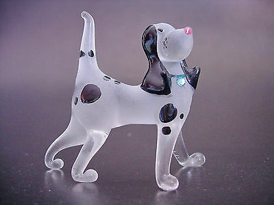 Glass DOG Black White Spotted HOUND Dog Animal Frosted Glass Body Glass Ornament