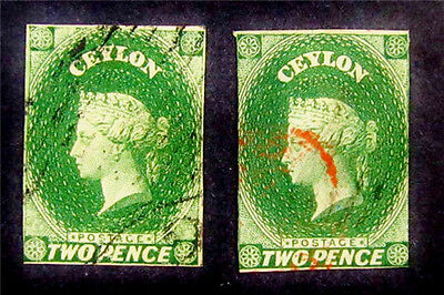 nystamps British Ceylon Stamp # 3 3A Used £165