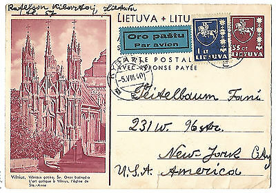 Lithuania 1940 uprated air mail illustrated stationery card United States Hebrew