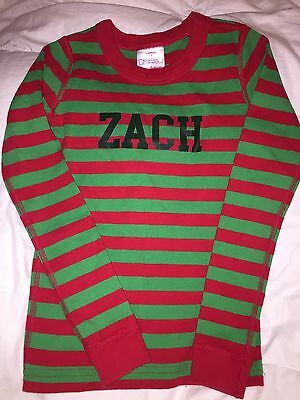 New HANNA ANDERSSON PAJAMAS Green Red Stripes 8 10 130 Boys Christmas ZACH 2 pc