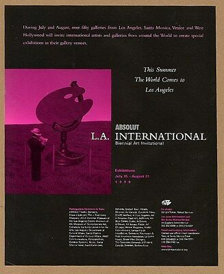 1999 Absolut Vodka L.A. International art invitational vintage print ad
