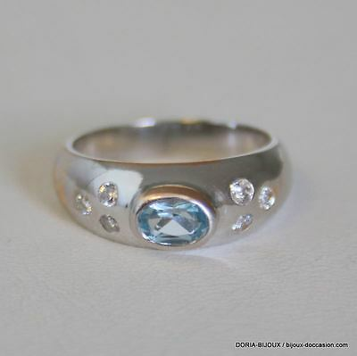 Bague Or 18k 750 Aigue Marine & Diamants 5.2grs -52- - Bijoux occasion