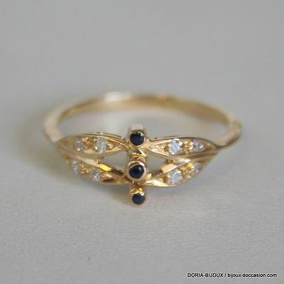 Bague Or Jaune 18k 750 Saphirs Diamants 1.8grs – 54- - Bijoux occasion