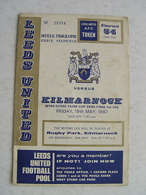 Leeds United v Kilmarnock 1967 Fairs Cup semi final